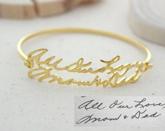 Handwriting Jewelry • Memorial Signature Bangle • Personalized Signature Bracelet • Sympathy Gift • Keepsake Jewelry • MOTHERS GIFT • BH05