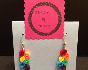Quilled paper earrings in rainbow