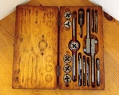 Antique Tap and Die Set in Wooden Box Circa 1910s