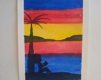 Reading on the beach original watercolor painting