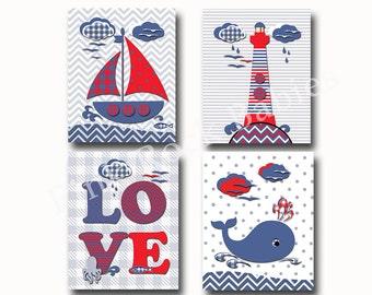 Nautical nursery decor, custom children art, Kids room decor, navy and red nursery, nautical bath decor, kids bathroom, nautical baby shower