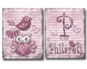 Custom baby name wall art, baby girl room decor, children wall art, kids room art, music paper art, red nursery owl, victorian nursery decor