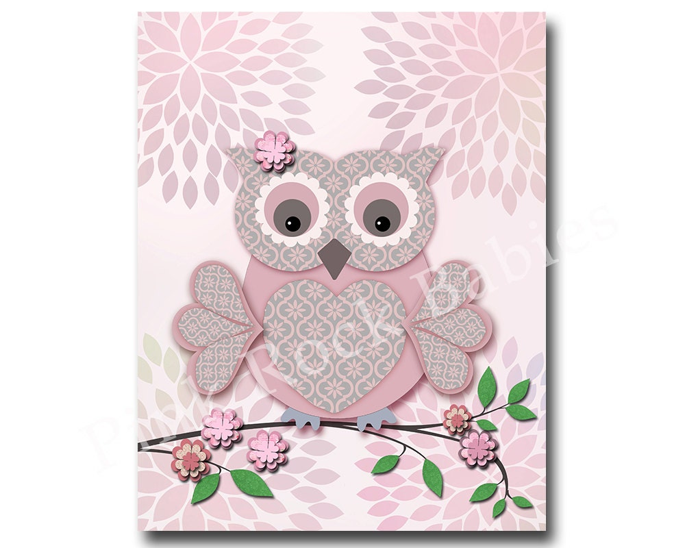 Pink owl nursery wall decor bird nursery wall art for baby for Baby owl decoration
