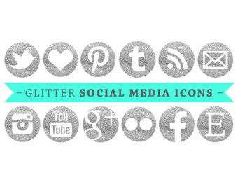 Social Media Icons - Silver Glitter - for Blogs & Websites