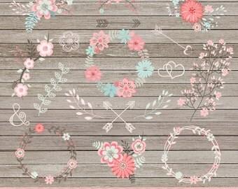 """Flower clipart: """"FLORAL CLIPART"""" wedding flower clipart, floral wreaths, scrapbook flowers, wedding invitations, floral bouquet clipart"""