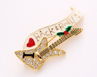 Guitar Brooch Crystal Musical Rock And Roll Electric Guitar Broach Music Jewelry