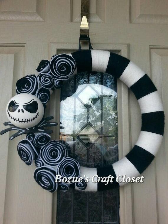 wreath, Nightmare Before Christmas wreath, black and white yarn wreath ...