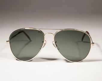 Gold Aviator Sunglasses with Glass Lens Metal Frame - Iceman