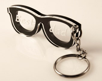 Personalized Keychain, Glasses, Original Present