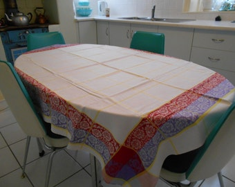 Vintage Damask Tablecloth with Purple & Magenta Border 1960's