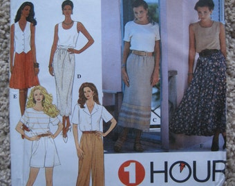 UNCUT Misses Pull-On Circle Skirt in Two Lengths, Slim Skirt and Pants or Shorts - Size Large, XLarge - Simplicity Pattern 8863 - Vintage