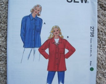 UNCUT Misses Shirt Jackets - Size XSmall, Small, Medium, Large, XLarge - Kwik Sew Pattern 2798 - Vintage 1990's