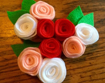 Felt flower magnets, flower magnets, floral magnets, rose magnets, felt rose magnets