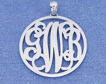 Sterling Silver 3 Initials Circle Monogram Pendant Necklace Jewelry 1 inch SM42