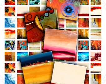 ABSTRACT ART .83x.75 inch size for pendant soldered art - Digital collage sheet instant download printable download - sc101