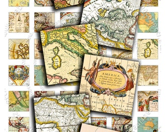 Digital collage sheet VINTAGE MAPS 1x1 inch square - antique book images for pendant jewelry magnets tags - print instant download - qu224