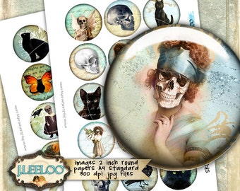 Digital printable SKULLS AND CATS 2 inch circle gothic scary dia de los muertos - pendant and craft instant digital collage sheet - tn469
