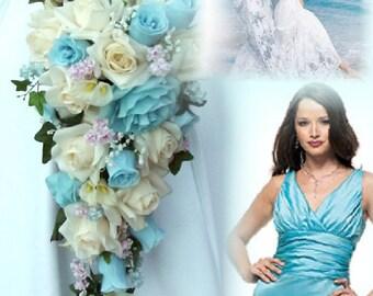 Artificial Pool Bridal Bouquet, Cascading Pool Bridal Flowers, Pool Wedding Bouquet