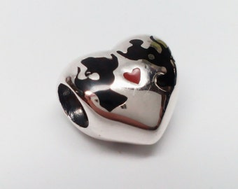 NEW Authentic Pandora Sterling Silver Minnie and Mickey Kiss Disney Charm #791443ENMX