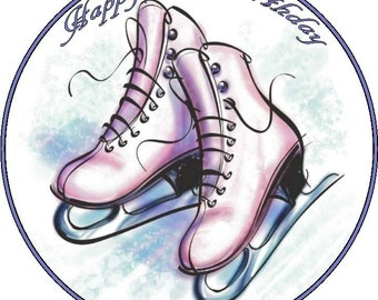 """Ice Skates  Personalised Pre Cut icng/Rice Paper Cake Topper 7.5"""""""