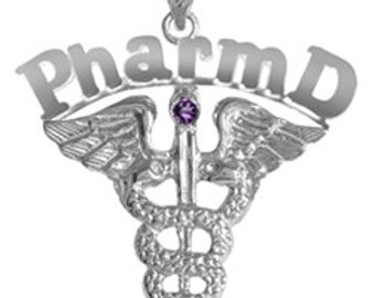 Doctor of Pharmacy PharmD Charm in Silver