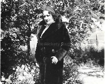 "Vintage Photo ""Bee In A Fancy Coat"" picutre, woman, antique, old photo, black and white photo, snapshot, photography, paper ephemera"