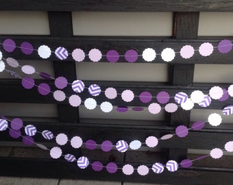 Garland, purple shades and  chevron 1 inch scalloped circle garland. Birthday party decoration, Paper garland.