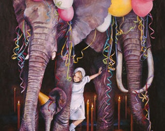 Birthday Cards, Greeting Cards, Elephant Card, Art Card, Animal Art, Animal Card, Birthday Card Child