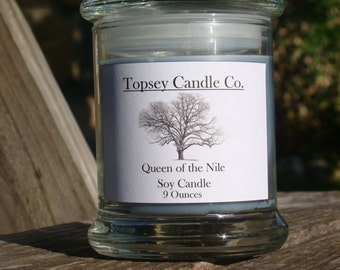 Queen of the Nile, 9 oz candle, Pure soy candle.