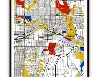 Calgary Map Art / Calgary, Canada Wall Art / Print / Poster / Modern Home Decor