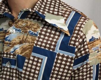 Vintage 1970s Men's Shirt- Great Graphics!