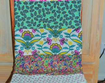 Minky Baby blanket, Girl Minky Baby Blanket, Strip Quilt, Purple, Teal, Yellow and Green Blanket