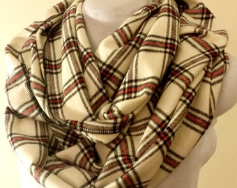 Warm and Stylish Cream/Black and Red Scarf