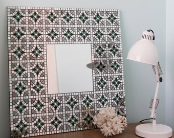"Square Mosaic Mirror, Large Mirror, Framed Mirror, Wall Mirror, Art Deco, Gift For Her, Anniversary Gift, Custom Mirror, ""Celtic"" – 59cm"