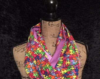 Autism Awareness Infinity Scarf Puzzle Pieces
