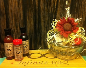 Gift basket with BBQ Sauce, Steak Marinade, and BBQ Dry Rub.
