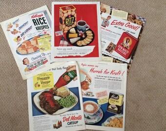 Five ads 1940's food originals 11 x 14