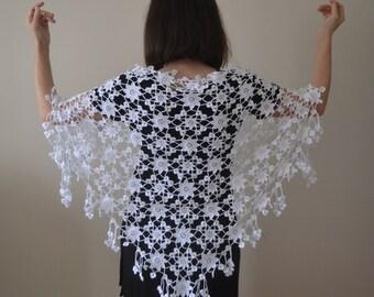Cotton Crochet White Flower Shawl, Wedding Shawl, Bridal Shawl, Bridal accessories, Bridal Shrug, Cotton Shawl, Lace Shawl, Bridal Wrap