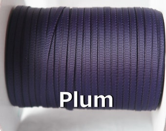 10 Yds - 1/8'' Grosgrain Ribbon, 3mm Solid Ribbon Plum Color