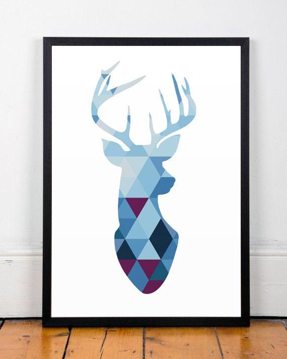 Triangles de silhouette g om trique poster cerf for Minimal art kunst