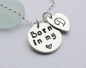 Personalised Sterling Silver Necklace & Heart with Initial - ADOPTION - FOSTER