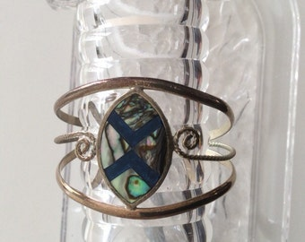Vintage Mexican Silver Inlaid Abalone Cuff Bracelet