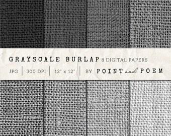 "Burlap digital paper: ""Gray Scale Burlap"" background for scrapbooking, cards, gray,black, canvas texture"