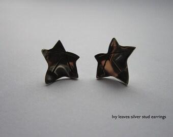 Silver Ivy leaf stud earrings