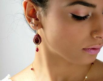 Crystal teardrop earrings. Red dangle earrings, Red drop earrings,  Burgundy earrings, Red gold earrings, Swarovski drop earrings