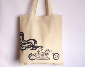Motorbike tote bag, Canvas tote bag, Chopper bag, Motorcycle bag, Screen printing tote bag, Chopperbike accesories, Tote bag, Shopping bag
