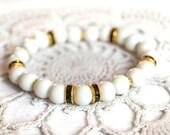 Pearl bead bracelet, elastic bracelet, stretchy bracelet, white pearl bracelet, black rhinestone , bridal jewelry, bangle bracelet