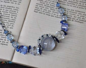 Blue sphere necklace, upcycled jewelry
