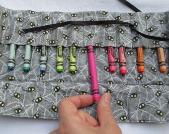 Modern spider 12 crayon roll flap lid, Great for kids / children pop in your bag and take it anywhere. Gift, present or stocking filler.