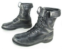 Mens Vintage Black Leather Lace Up Cuffed Military Tactical Combat Jump Ankle Boots Sz 8 1/2 D